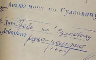Расшифровка анализа мочи по Сулковичу